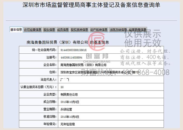 某某鲁国际贸易(深圳)有限公司工商网信息查询