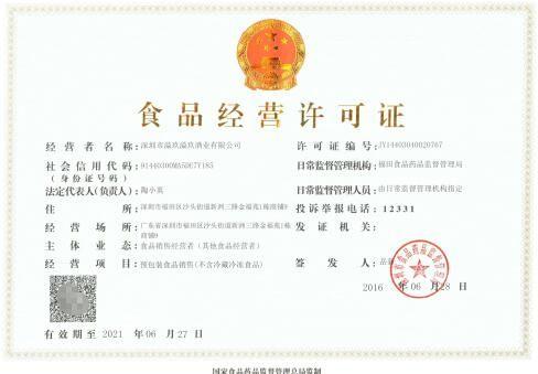 深圳食品经营许可证模板